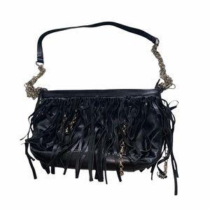 Asile Black Fringe Chain Detail Shoulder Hand Bag